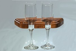 Sektglas Halter, Walnuss, für 3 Gläser